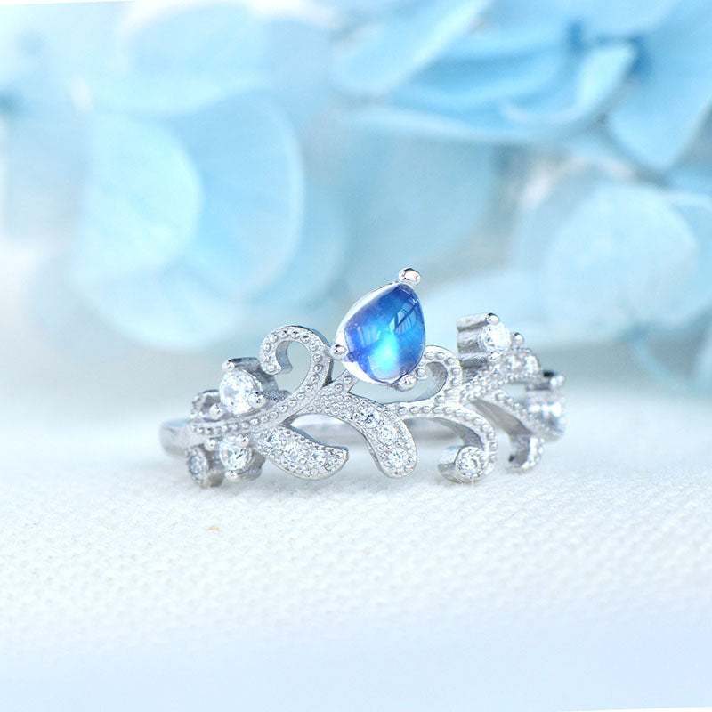 Female Blue Moonstone Engagement Ring White Gold Plated Sterling Silver Moonstone Ring For Women Beautiful