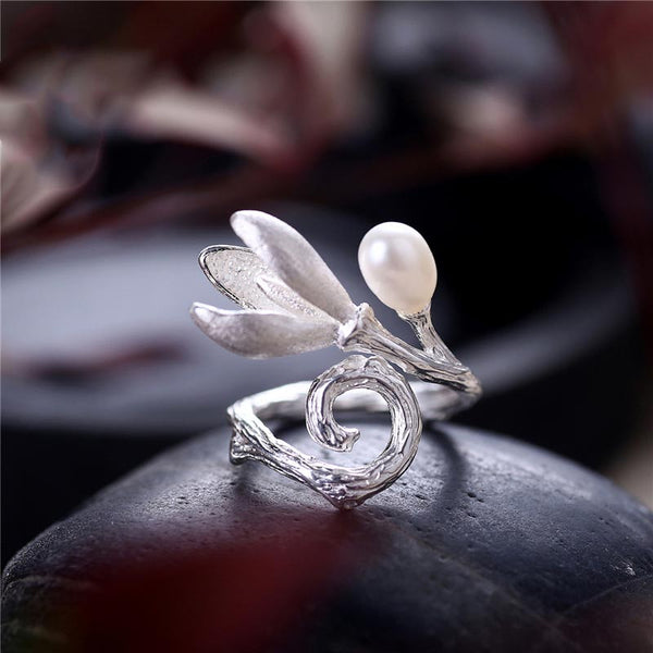 Freshwater Pearl Ring Silver June Birthstone Jewelry gift women