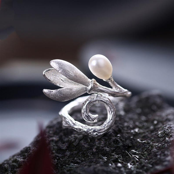 Freshwater Pearl Ring Silver June Birthstone unique Jewelry