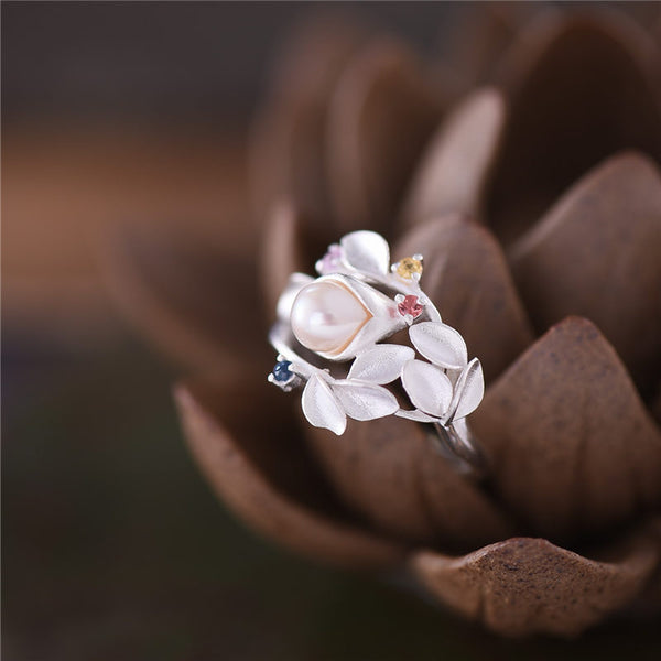 Freshwater Pearl Silver Ring june Birthstone jewelry