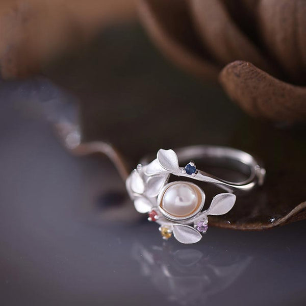 Freshwater Pearl Silver Ring june Birthstone naturl gemstone jewelry