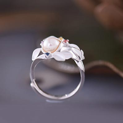 Freshwater Pearl Silver Ring june Birthstone unique gifts