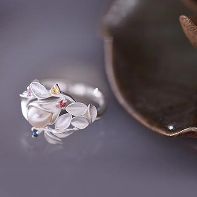 Freshwater Pearl Silver Ring june Birthstone unique jewelry