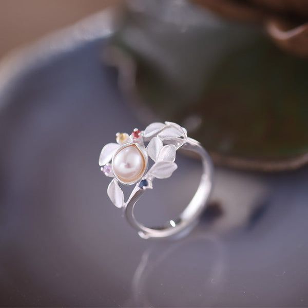 Freshwater Pearl Silver Ring june Birthstone women