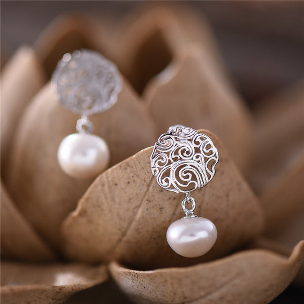 Freshwater Pearl Stud Earrings Sterling Silver Handmade Gemstone Jewelry Accessories Gift Women