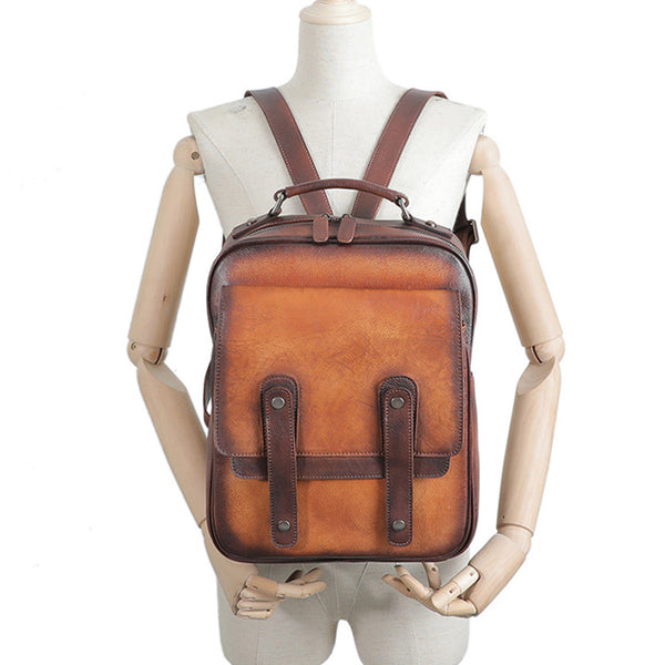 Funky Brown Leather Womens Backpack Bag Purse Cool Backpacks for Women Cool