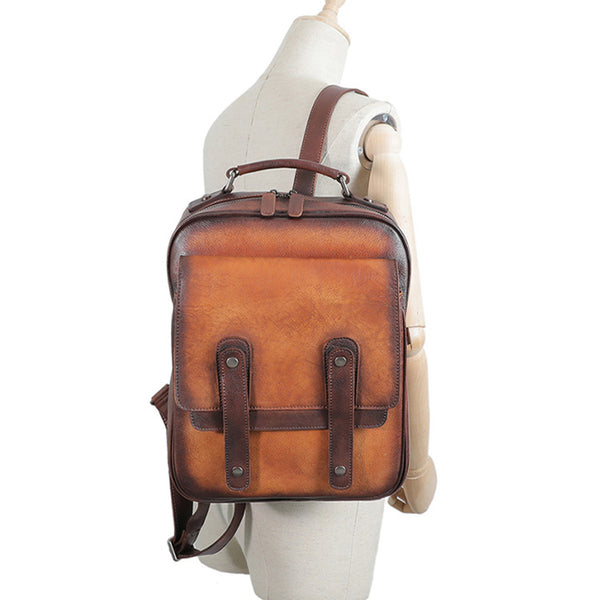 Funky Brown Leather Womens Backpack Bag Purse Cool Backpacks for Women Cowhide