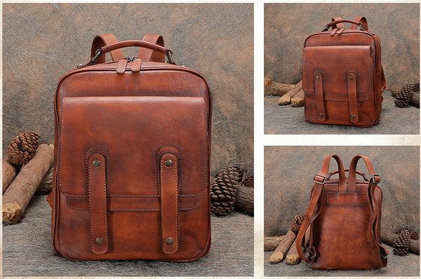 Funky Brown Leather Womens Backpack Bag Purse Cool Backpacks for Women Details