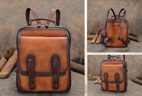 Funky Brown Leather Womens Backpack Bag Purse Cool Backpacks for Women Genuine Leather