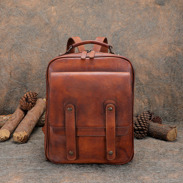 Funky Brown Leather Womens Backpack Bag Purse