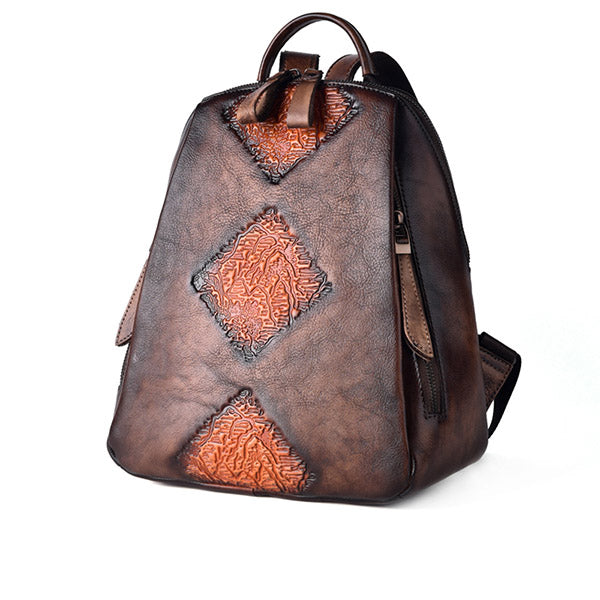 Funky Womens Brown Leather Backpack Handbags Purse