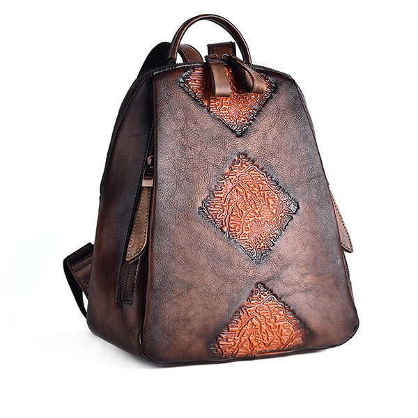 Funky Womens Brown Leather Backpack Handbags Purse Vintage Backpacks for Women Brown