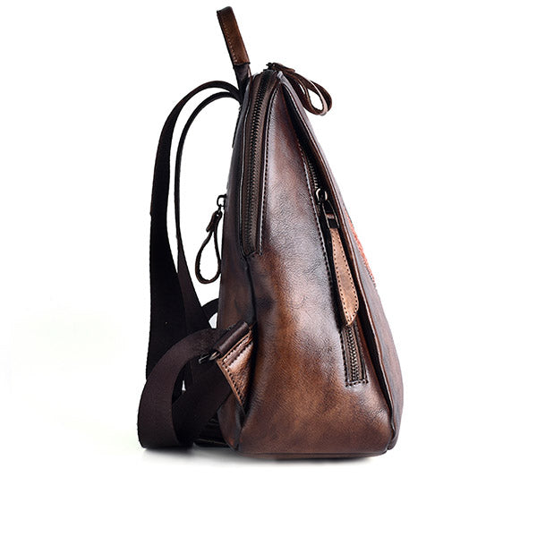 Funky Womens Brown Leather Backpack Handbags Purse Vintage Backpacks for Women Chic