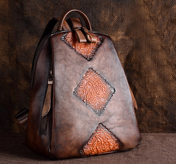 Funky Womens Brown Leather Backpack Handbags Purse Vintage Backpacks for Women Genuine Leather