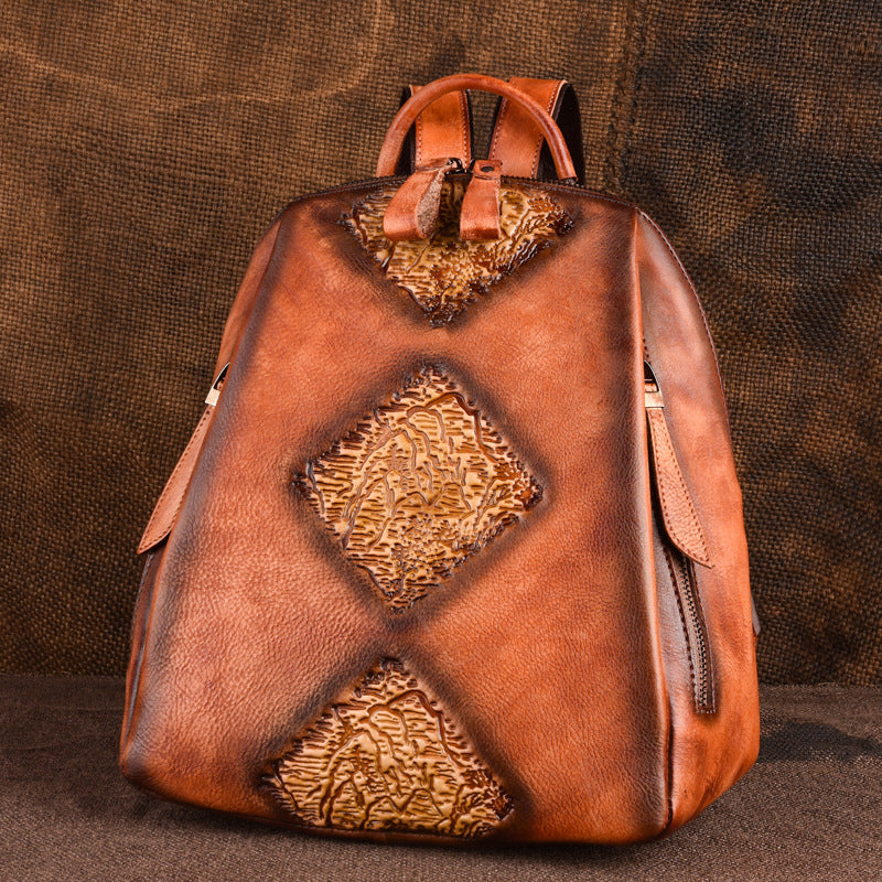 Womens Funky Brown Leather Backpack Purse Vintage Backpacks for Women
