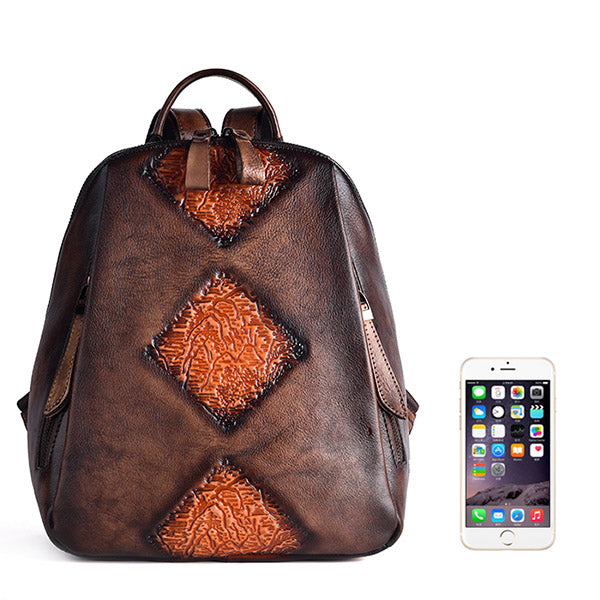 Funky Womens Brown Leather Backpack Handbags Purse Vintage Backpacks for Women Original