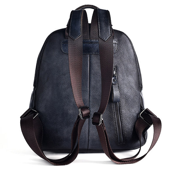 Funky Womens Brown Leather Backpack Handbags Purse Vintage Backpacks for Women Unique
