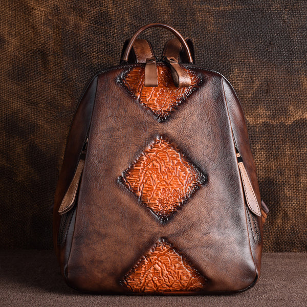 Funky Womens Brown Leather Backpack Handbags Purse Vintage Backpacks for Women fashion