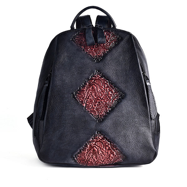 Funky Womens Brown Leather Backpack Handbags Purse Vintage Backpacks for Women stylish