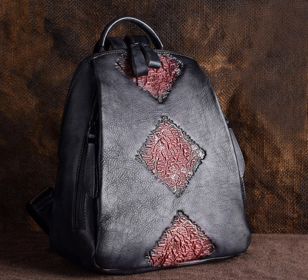 Funky Womens Brown Leather Backpack Handbags Purse Vintage Backpacks for Women work bag