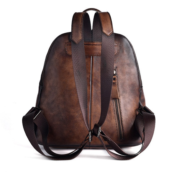 Funky Womens Brown Leather Backpack Handbags Purse Vintage Backpacks for Women