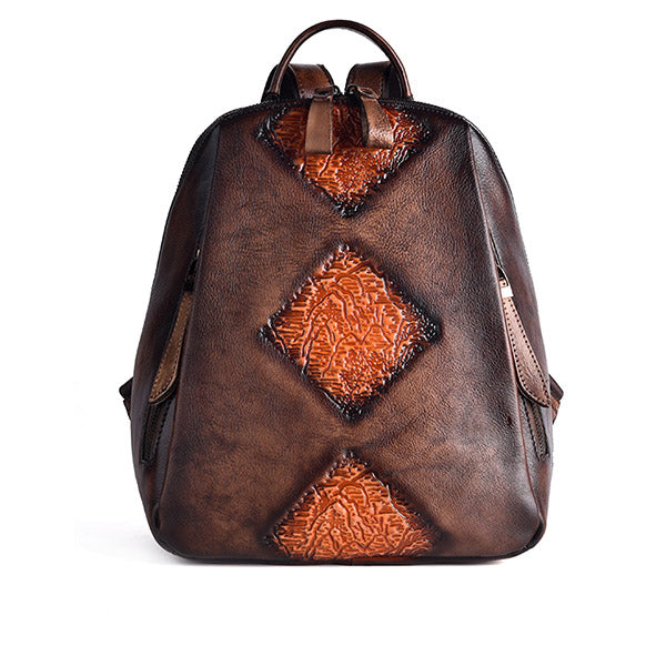 Funky Womens Brown Leather Backpack Purse Vintage Backpacks for Women