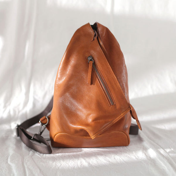 Funky Womens Brown Leather Backpack Purse Bookbag Purse Cool Backpacks for Women Chic