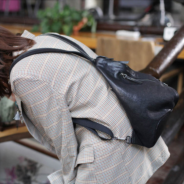 Funky Womens Brown Leather Backpack Purse Bookbag Purse Cool Backpacks for Women Details
