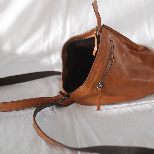 Funky Womens Brown Leather Backpack Purse Bookbag Purse Cool Backpacks for Women Minimalist