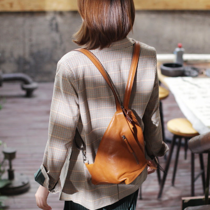 Funky Womens Brown Leather Backpack Purse Bookbag Purse