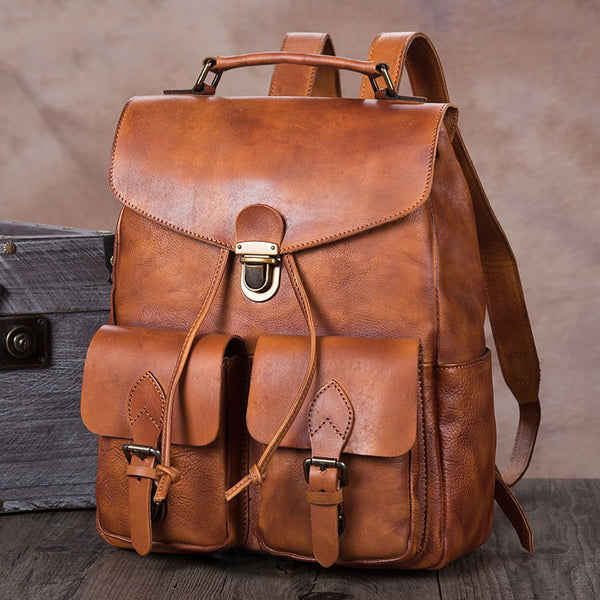 Funky Womens Square Genuine Leather Backpack Purse Laptop Bag for Women Brown