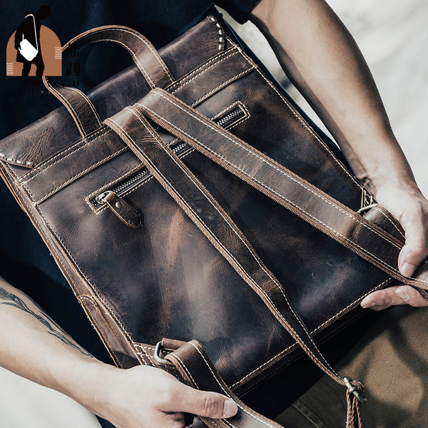 Funky Womens Tan Genuine Leather Backpack Bag Purse Cool Leather Backpacks for Women