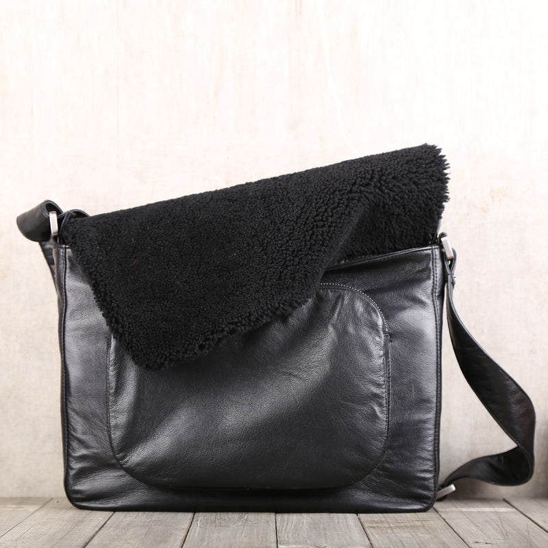 Fur Satchel Bag Black Soft Genuine Leather Messenger Bag Crossbody Bags for Women Men black