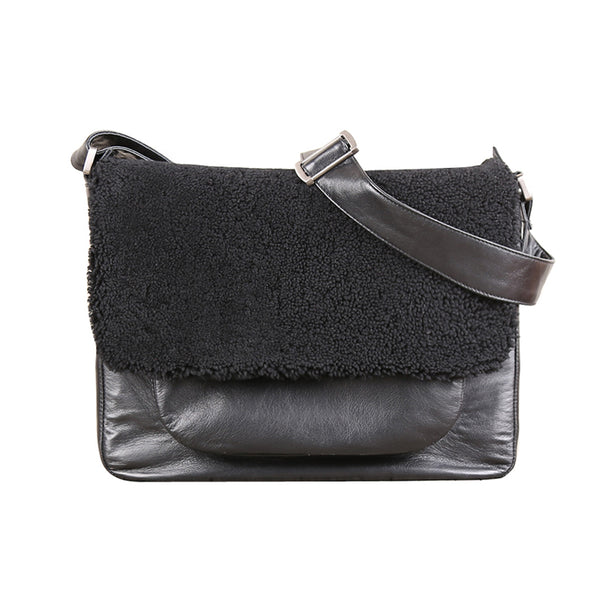 Fur Satchel Bag Black Soft Genuine Leather Messenger Bag Crossbody Bags for Women Men cool