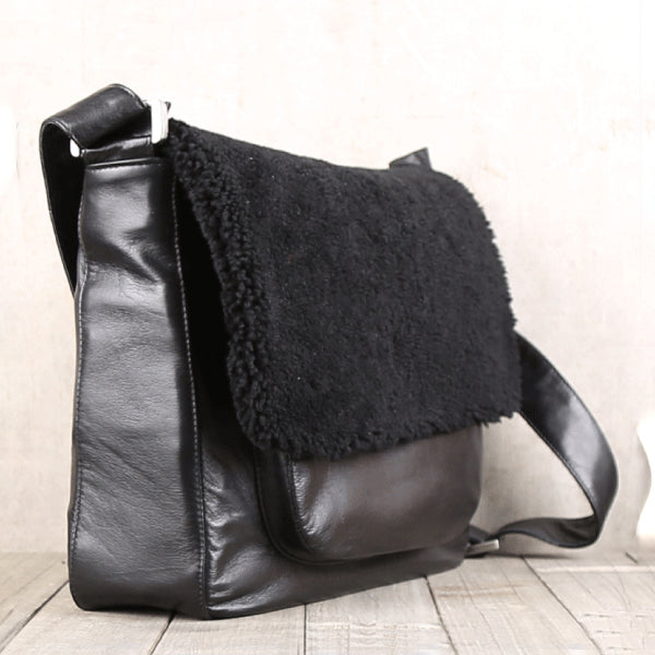 Fur Satchel Bag Black Soft Genuine Leather Messenger Bag Crossbody Bags for Women Men cute