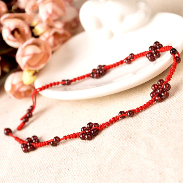 Garnet Beaded Braided Rope Anklet Handmade Jewelry Accessories Gift Women