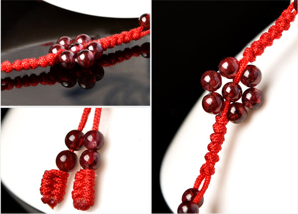 Garnet-Bead-Braided-Rope-Anklet-Handmade-Jewelry-Accessories-Gift-Women-charming