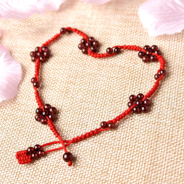 Garnet-Bead-Braided-Rope-Anklet-Handmade-Jewelry-Accessories-Gift-Women-chic
