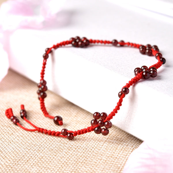 Garnet-Bead-Braided-Rope-Anklet-Handmade-Jewelry-Accessories-Gift-Women-cute