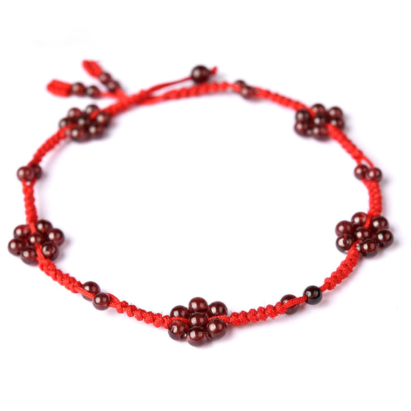 Garnet-Bead-Braided-Rope-Anklet-Handmade-Jewelry-Accessories-Gift-Women