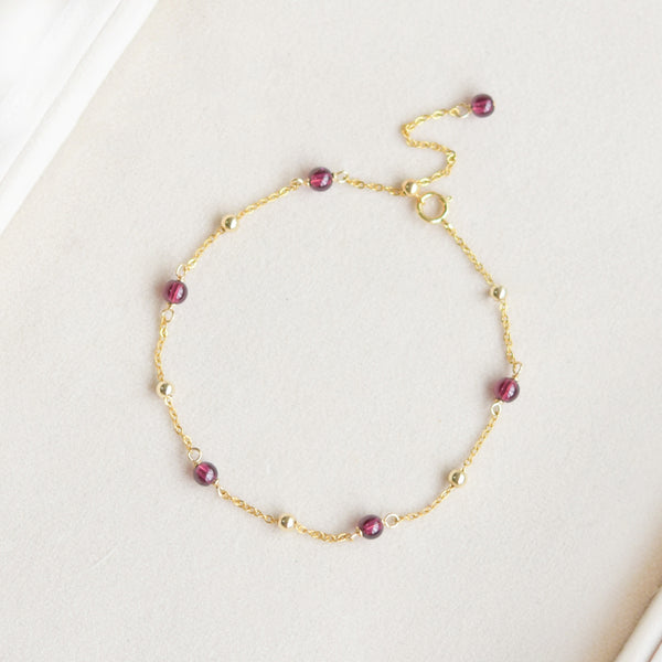 Garnet Bead Gold Anklet Handmade january birthstone Jewelry Accessories Women adorable