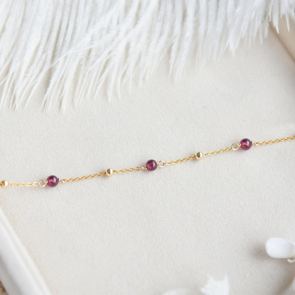 Garnet Bead Gold Anklet Handmade january birthstone Jewelry Accessories Women beautiful