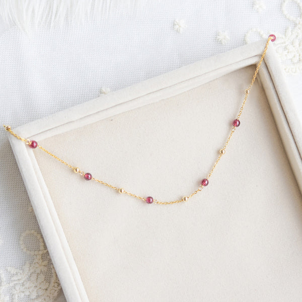 Garnet Bead Gold Anklet Handmade january birthstone Jewelry Accessories Women chic