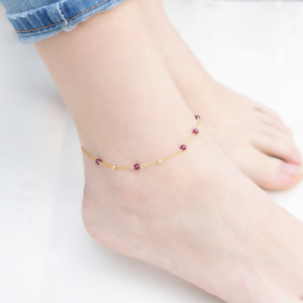Garnet Bead Gold Anklet Handmade january birthstone Jewelry Accessories Women cute