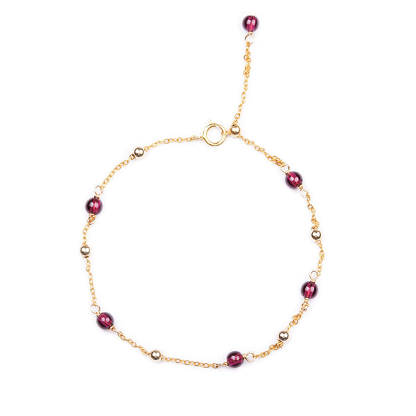 High Quality Garnet Bead 14k Gold Plated Anklet Handmade Jewelry Accessories Women