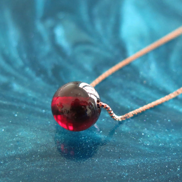 Garnet Bead Pendant Necklace Silver handmade Jewelry Accessories Women anuary birthstone