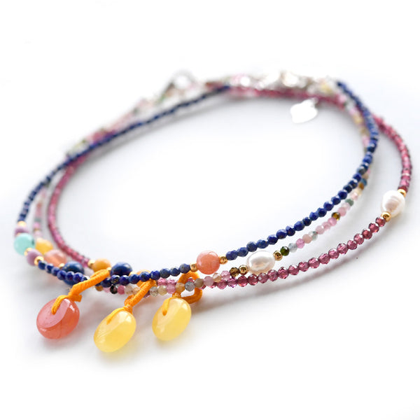 Garnet-Lapis-Lazuli-Tourmaline-Bead-Anklet-Handmade-Gemstone-Jewelry-Accessories-Gift-Women-adorable