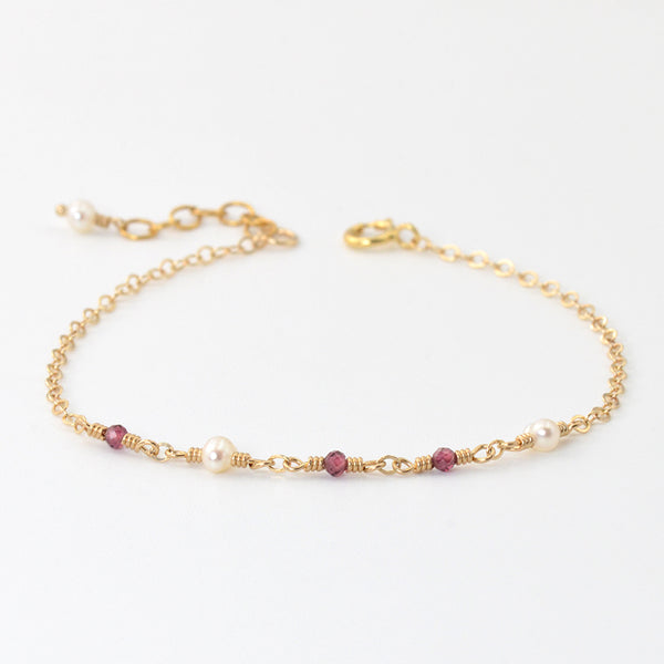 Garnet Pearl Bead Bracelet Gold Handmade Jewelry Accessories Women gift