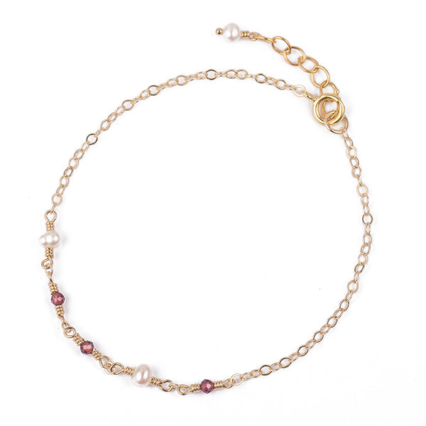 Garnet Pearl Bead Bracelet Gold Handmade Jewelry Accessories Women june january birthstone