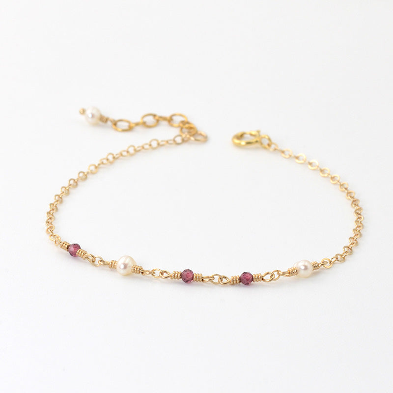 Garnet Pearl Bead Bracelet Gold Handmade Jewelry Accessories Women